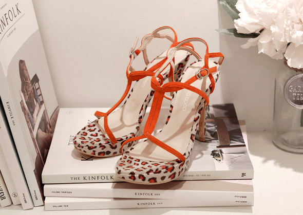 orange leopard heel