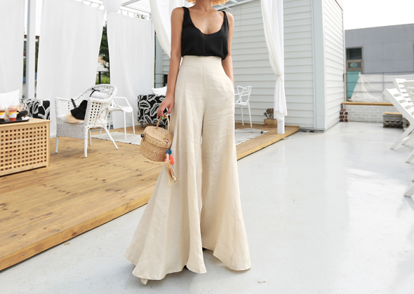 wide pants (beige)