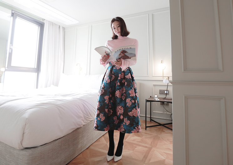 flower jacquard skirt