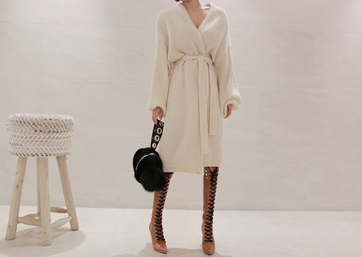 long belt knit cardigan (ivory)