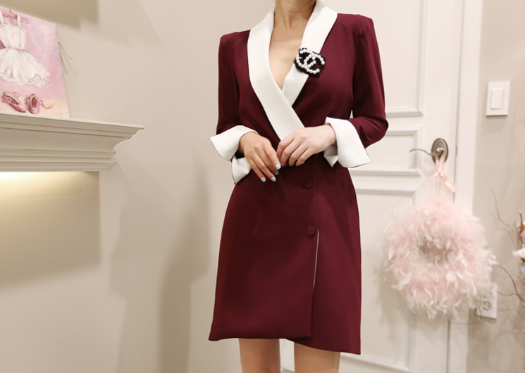 chris one-piece&jacket (wine)