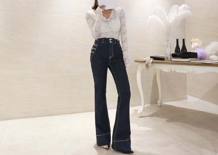 two button denim pants