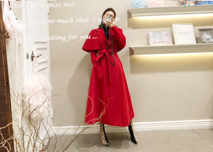 cha cha cape coat (red)