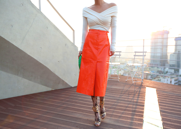 crocodile midi skirt (orange)