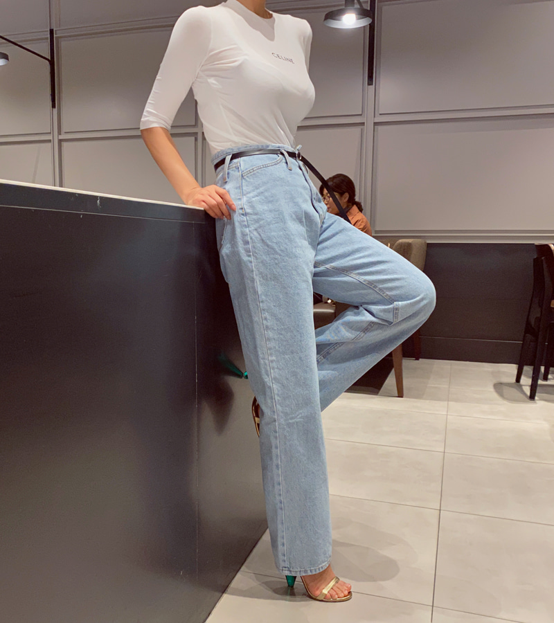 belt natural denim pants