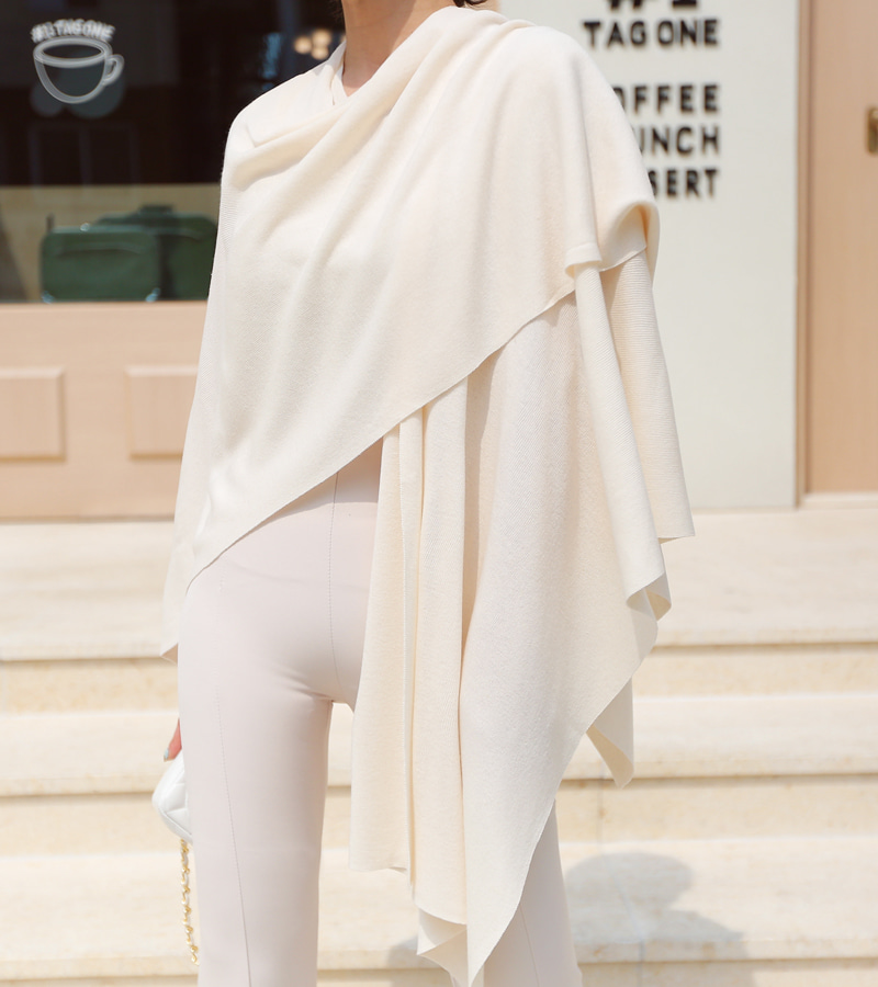 summer knit cape (cream)