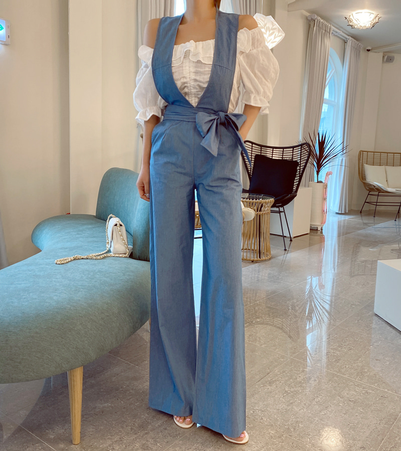 strap denim jump-suit