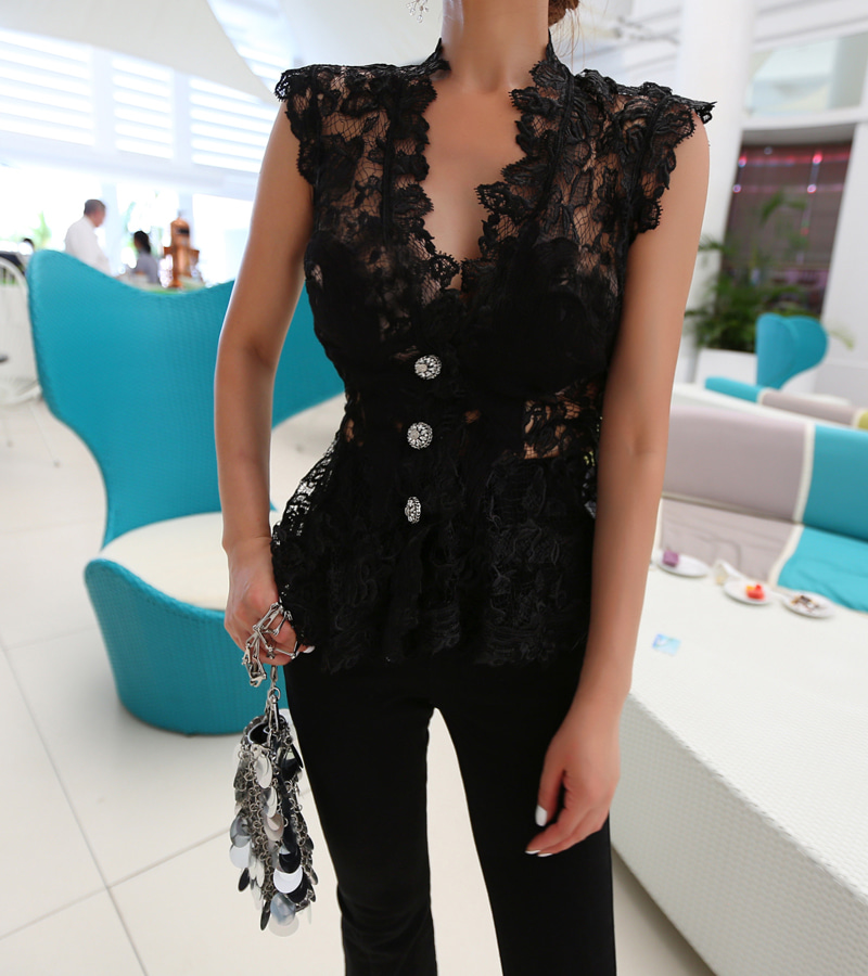 dear lace blouse (black)