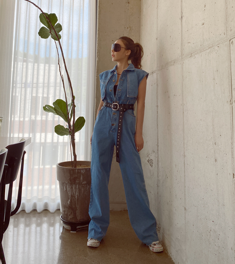 early denim jump-suit