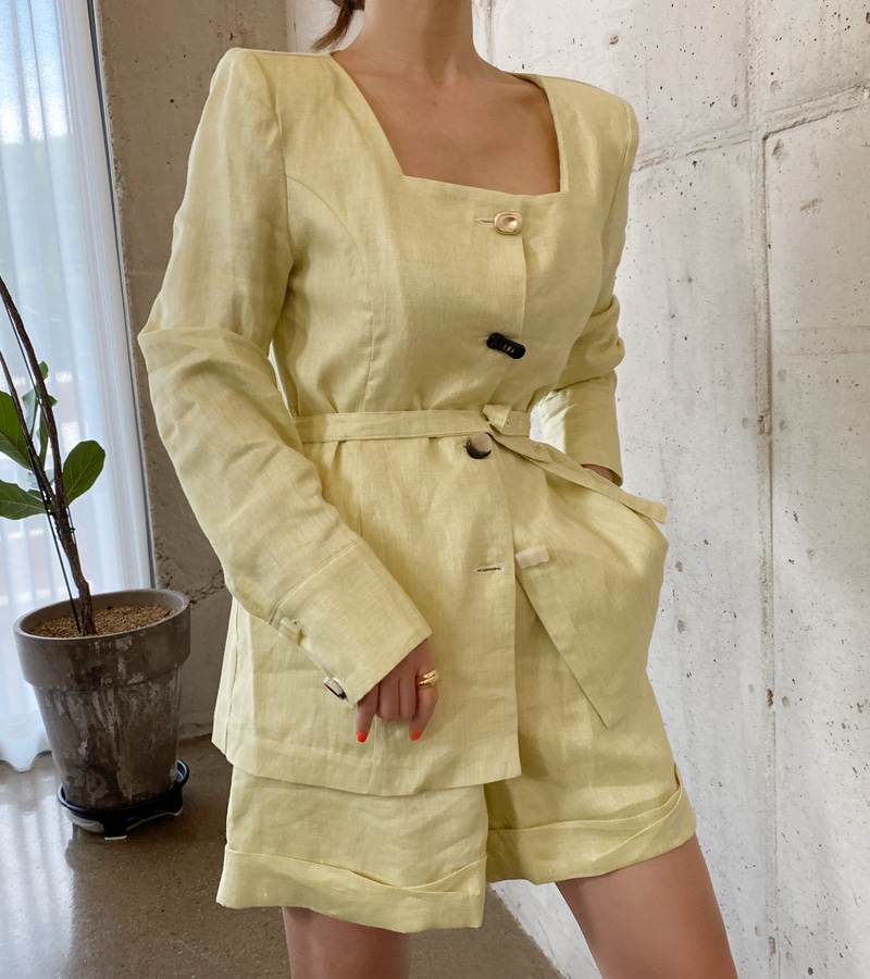 wannabe linen jacket (lemon)