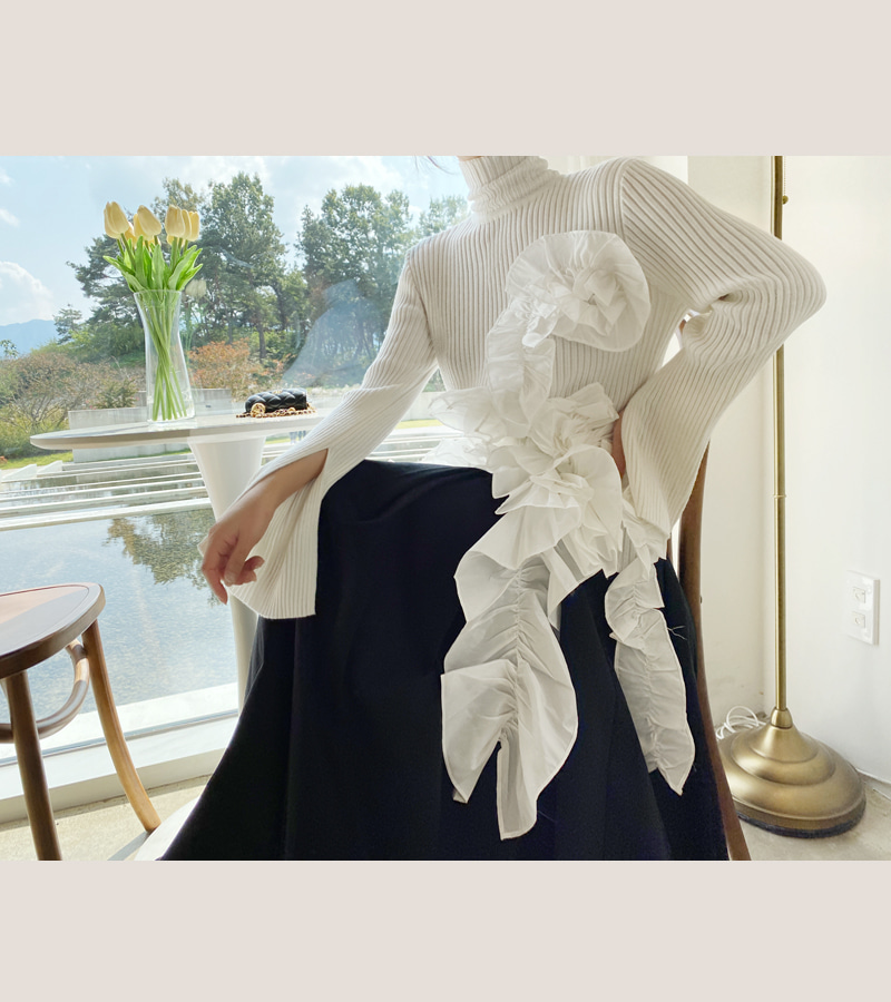 [SALE]frill flower long knit