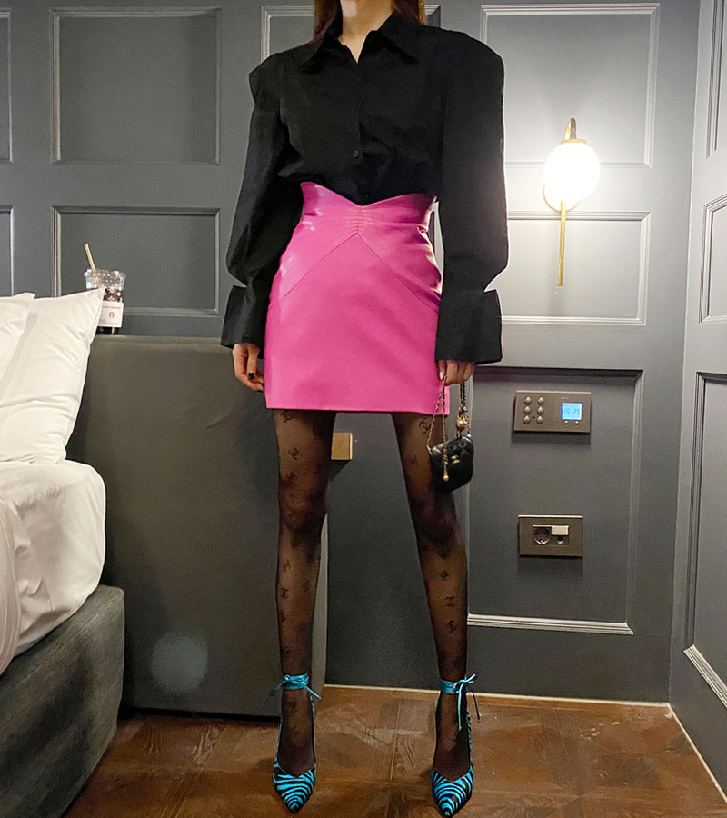 High Leather Skirt (pink)